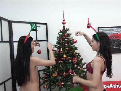 Рождественских порно близняшек выебали под елочкой в задний проход